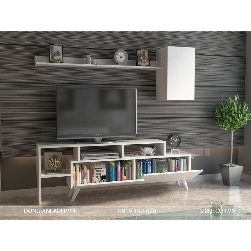 Kệ tivi để sàn thiết kế với 02 cánh mở để sách, đồ trang trí và các vật dụng cần thiết khác.