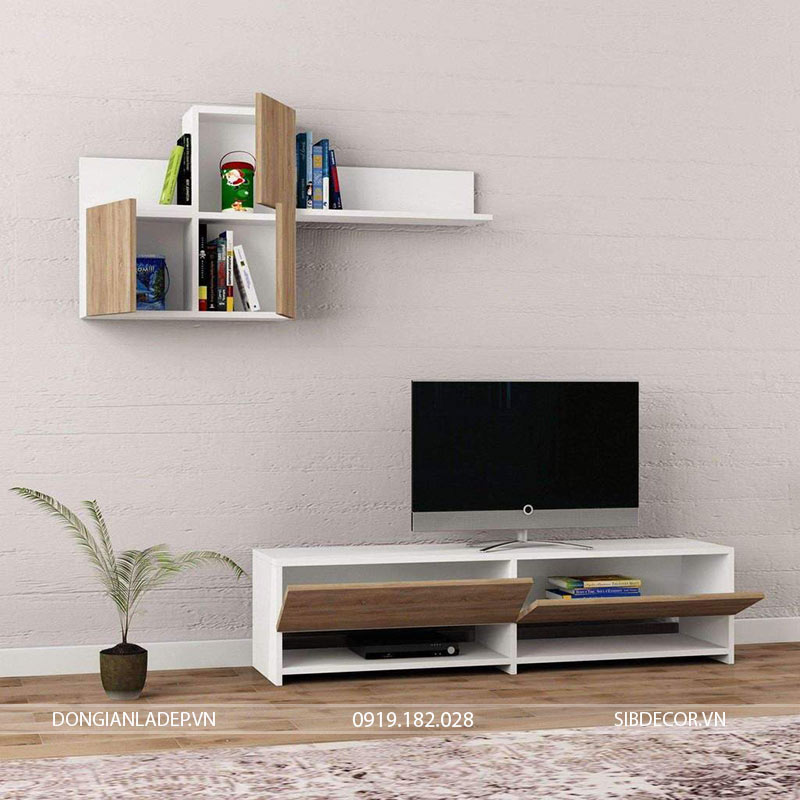 Set kệ tv màu trắng kết hợp màu gỗ sồi