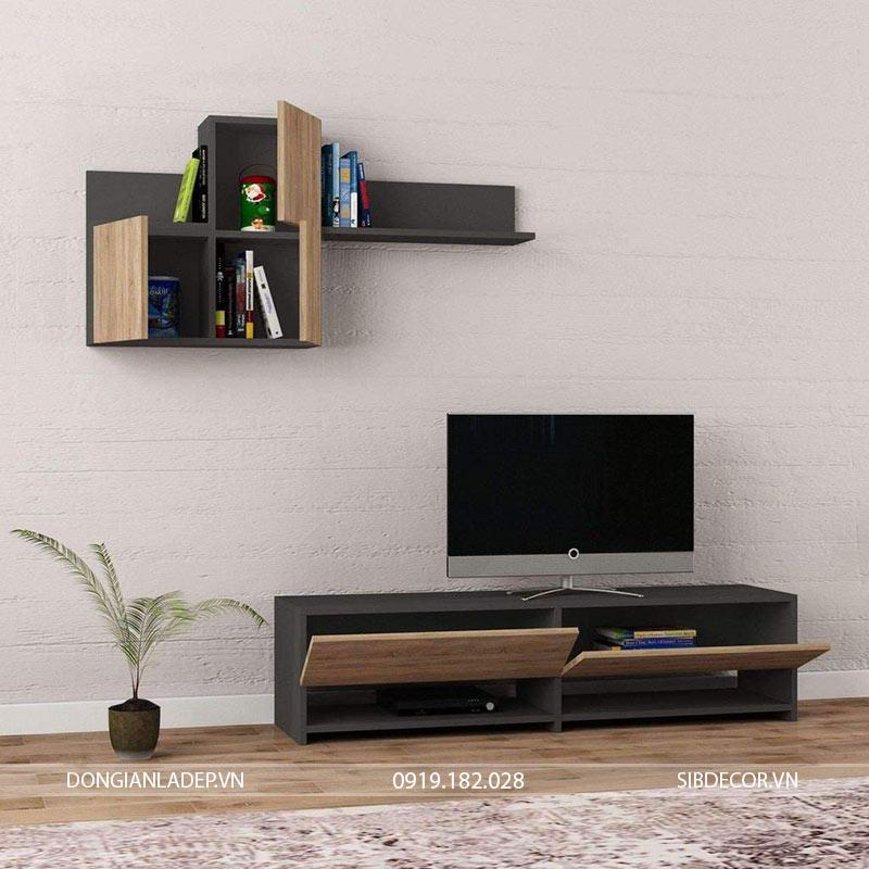 Bộ kệ tv và kệ treo tường màu đen kết hợp màu gỗ sồi