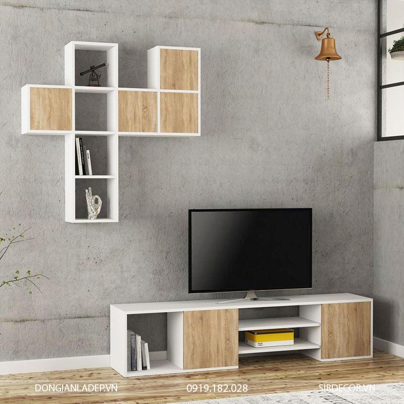 Kệ TV35 màu trắng kết hợp màu gỗ sồi.