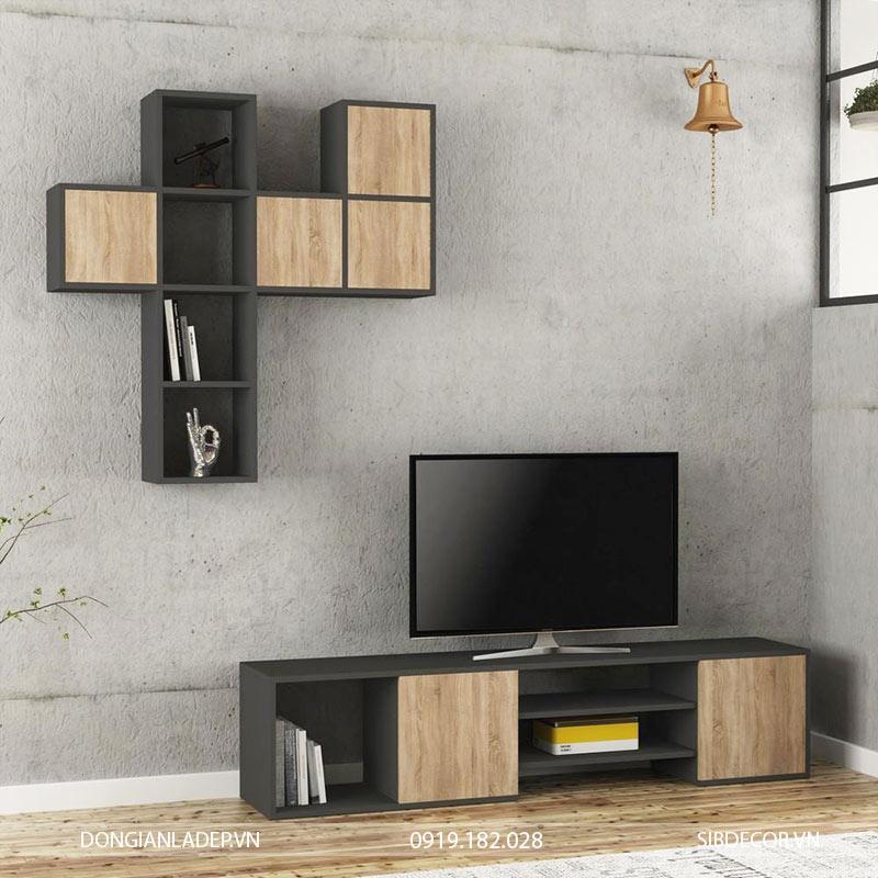 Bộ kệ tivi màu đen kết hợp màu gỗ sồi.