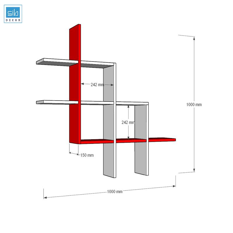 Kích thước chi tiết kệ sách treo tường KT121