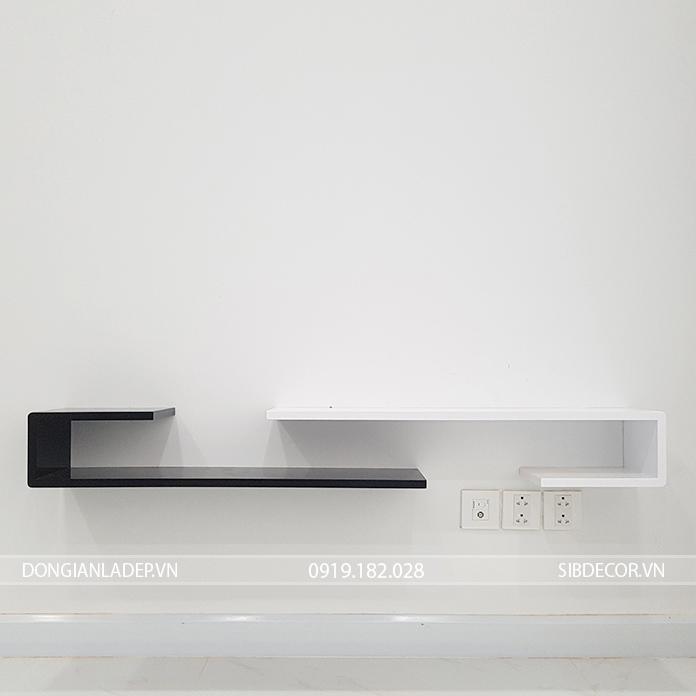 Kệ gỗ màu trắng đen đơn giản, hiện đại