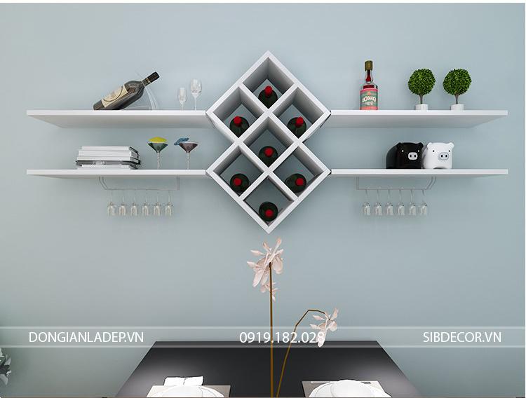 Kệ rượu + kệ sách + kệ trang trí treo tường màu trắng