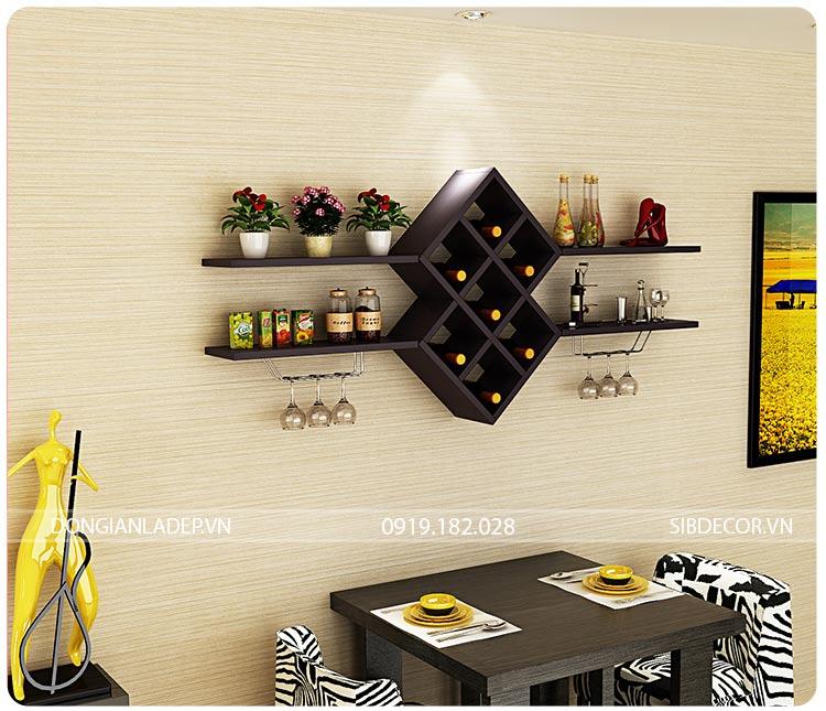 Kệ rượu + kệ sách + kệ trang trí treo tường màu đen