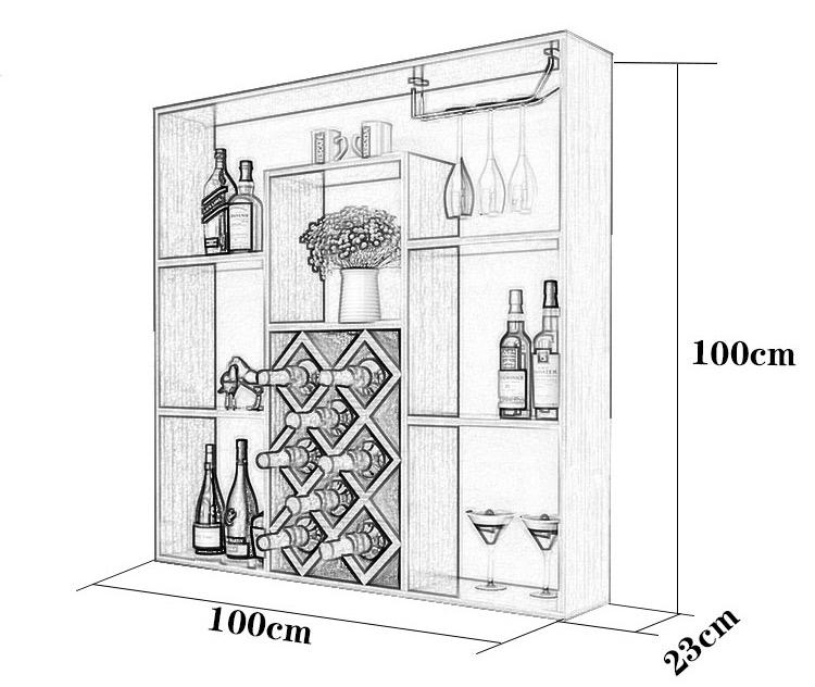 Kích thước kệ rượu KR11: 100x100x23cm