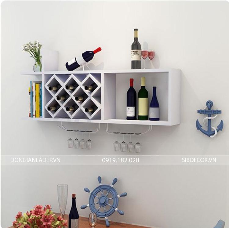 Kệ rượu treo tường KR10 màu trắng