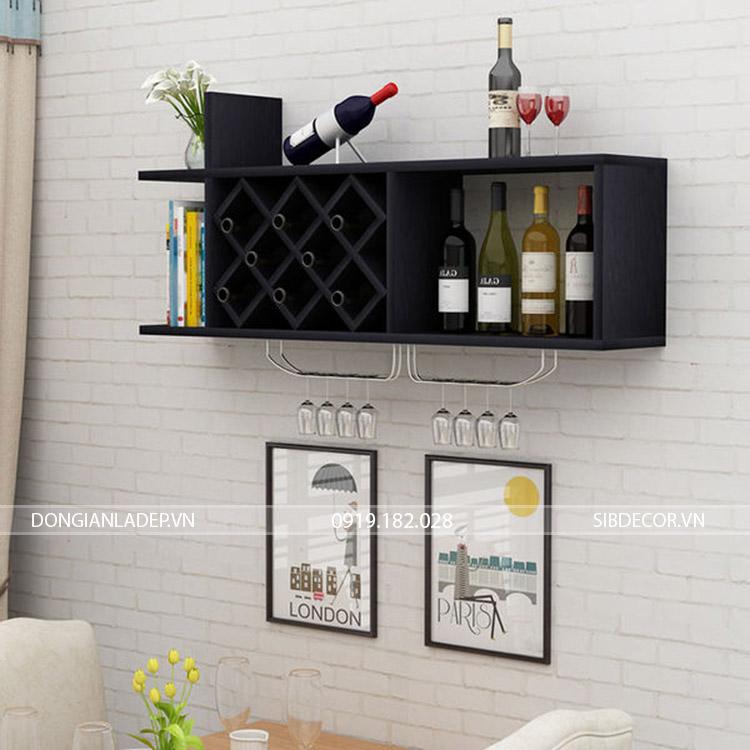 Kệ rượu treo tường KR10 màu đen