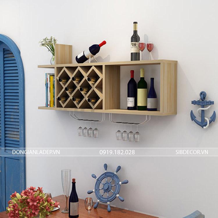 Kệ rượu treo tường KR10 màu vân gỗ sồi