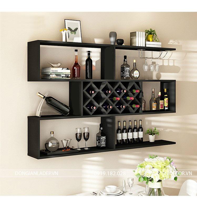 Kệ rượu treo tường 3 tầng màu đen tinh tế