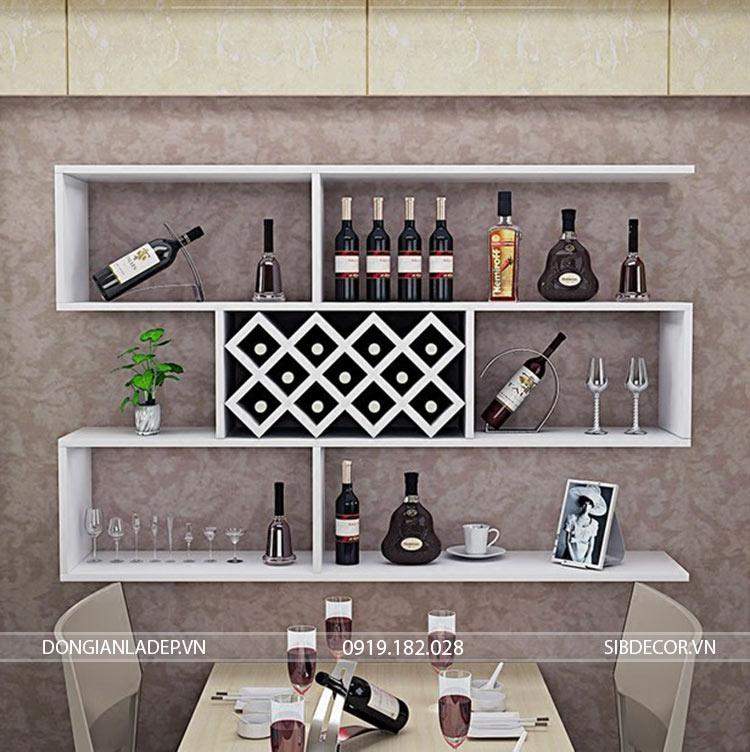 Kệ rượu treo tường 3 tầng màu trắng sang trọng