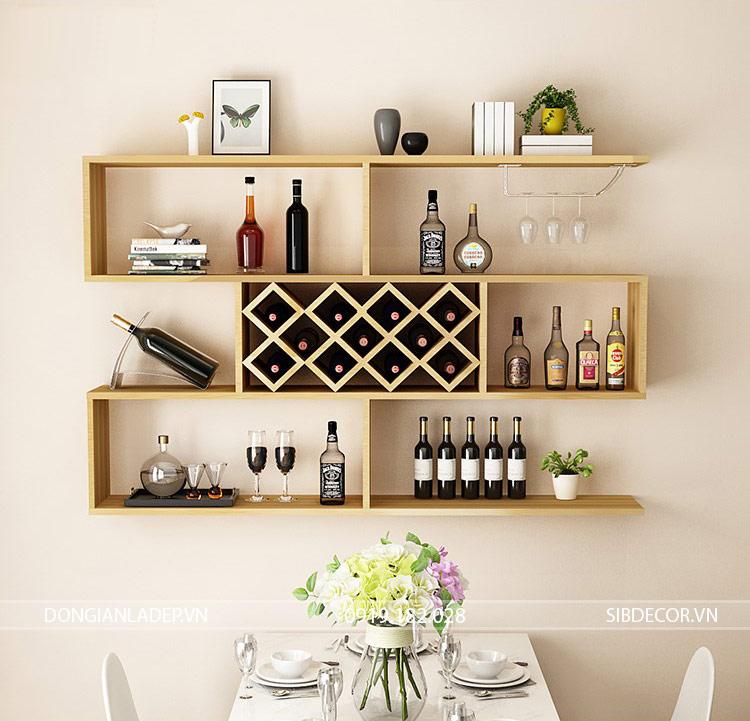 Kệ rượu treo tường 3 tầng màu vân gỗ hiện đại