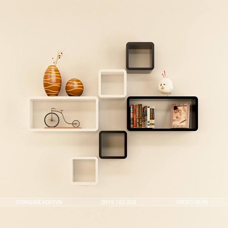 Kệ gỗ trang trí trắng đen để sách, khung ảnh, đồ trang trí
