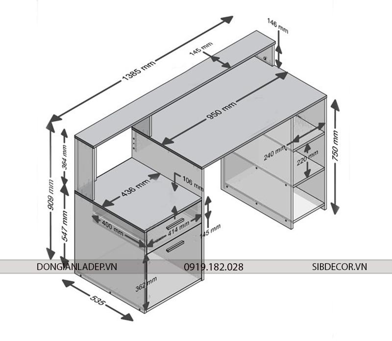Kích thước bàn làm việc BLV28