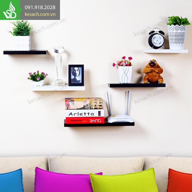 5 kệ trhanh ngang 40x20cm lắp đối xứng tạo nét hài hòa cho bức tường