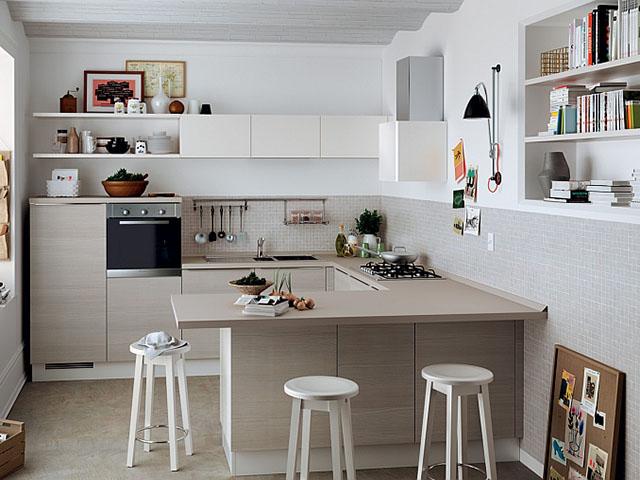 Phòng bếp chữ U – kết hợp làm bàn ăn độc đáo
