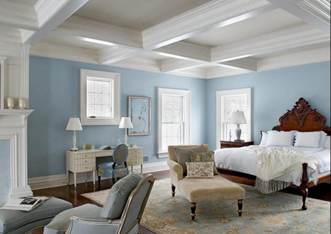 Màu xanh da trời kết hợp tràn nhà màu trắng tạo cảm giác bay bổng, thanh thoát