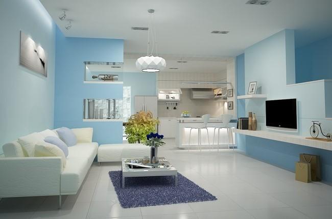 Tường xanh kết hợp nội thất màu trắng tinh khôi