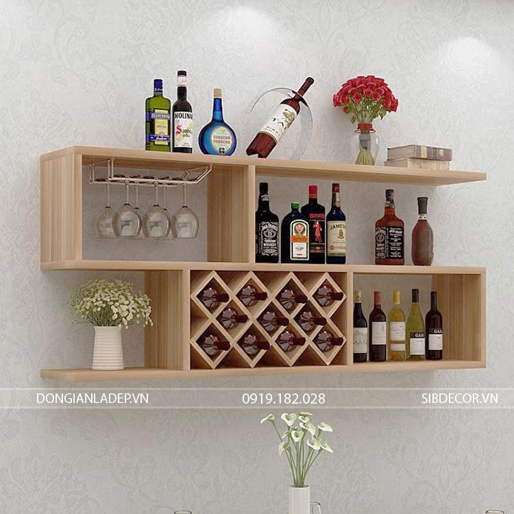 Kệ rượu treo tường KR02 màu vân gỗ sồi