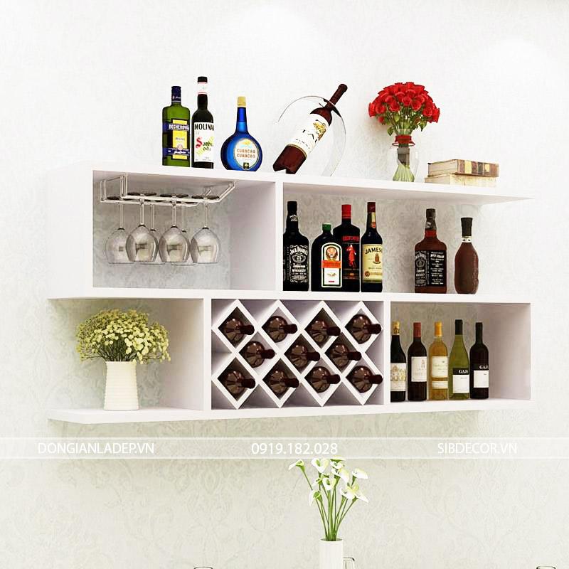 Kệ rượu treo tường KR02 màu trắng