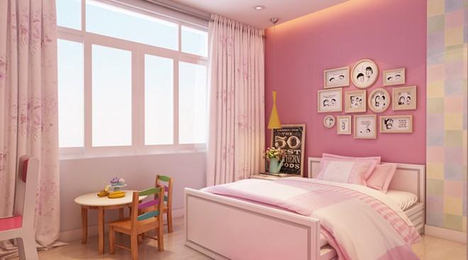 Nữ tính cùng sơn màu hồng cho phòng ngủ