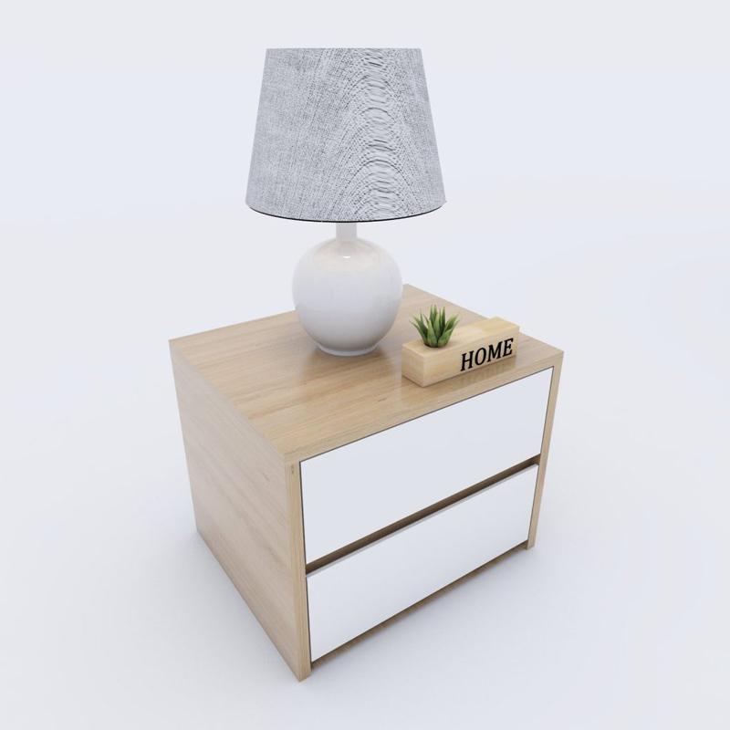 Tủ đầu giường thiết kế màu trắng kết hợp vân gỗ sồi đơn giản