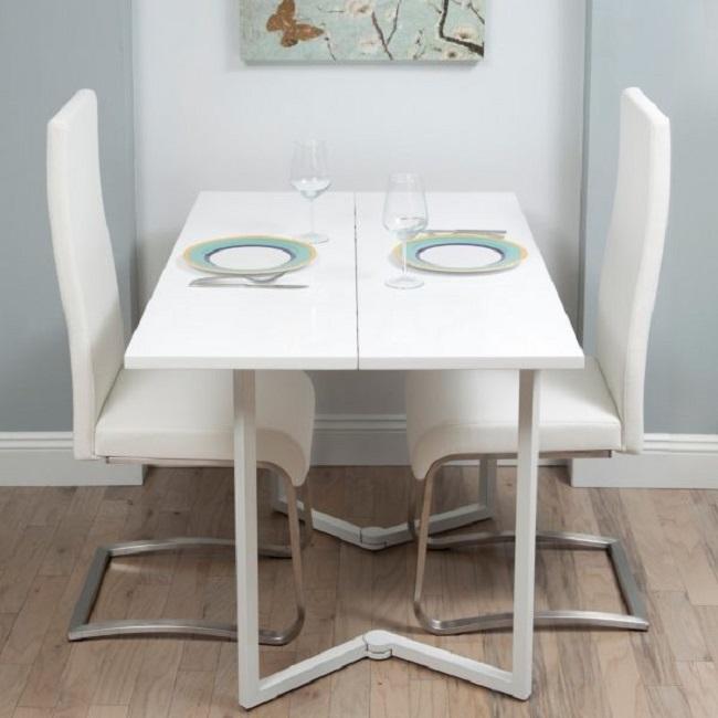 Mẫu bàn ăn treo tường màu trắng giúp tiết kiệm diện tích sàn nhà