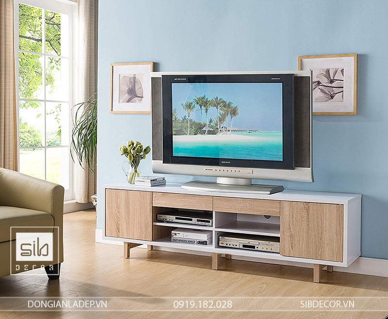 Khung gỗ đặc 25mm kháng ẩm, hệ 3 chân vững chãi của kệ tivi phòng khách TV37