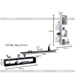 Kích thước bộ kệ tivi treo tường phòng khách sáng tạo BST75