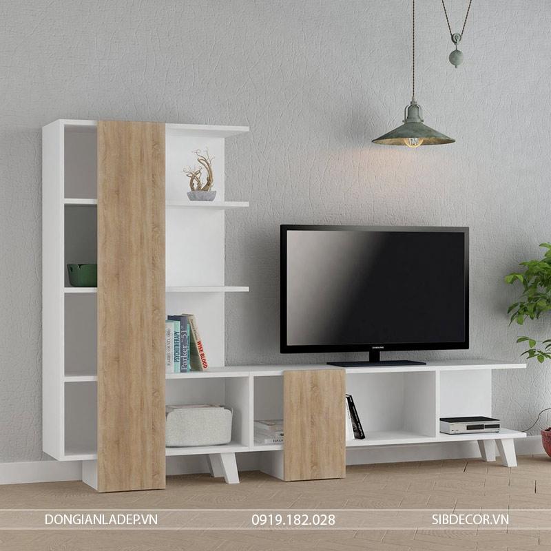 Kệ tivi kết hợp để sách với hai màu trắng và vân gỗ đơn giản, tinh tế
