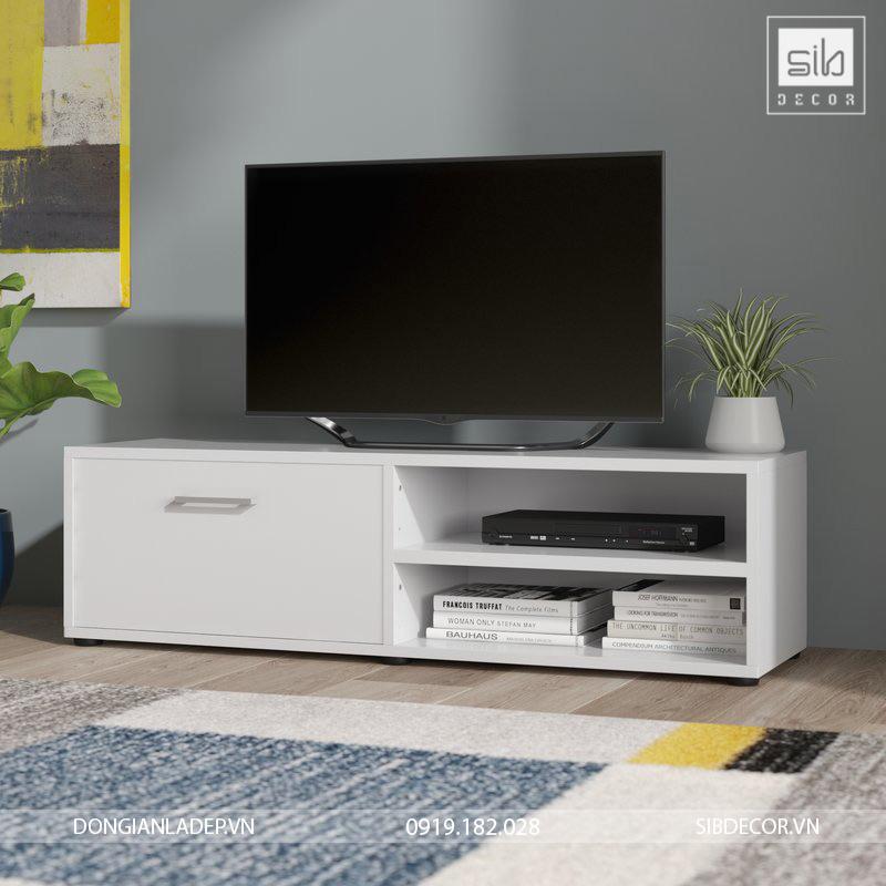 Kệ tivi thiết kế đơn giản với 1 cánh tủ và 1 ngăn trống 2 tầng