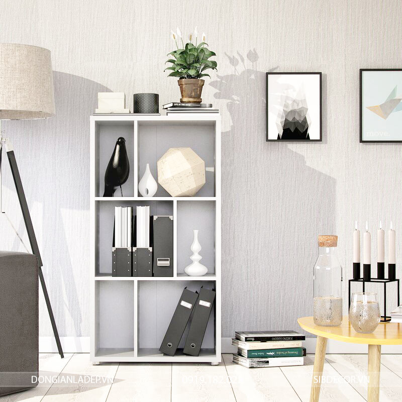 Tủ sách màu trắng, khung bao xung quanh gỗ 25mm đặc kháng ẩm