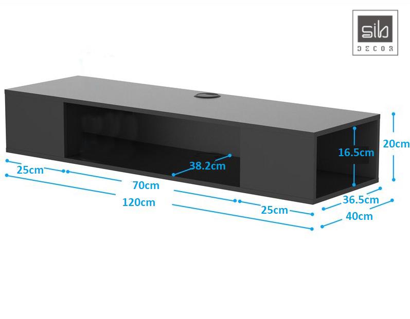 Kích thước chi tiết kệ tivi treo tường TV48