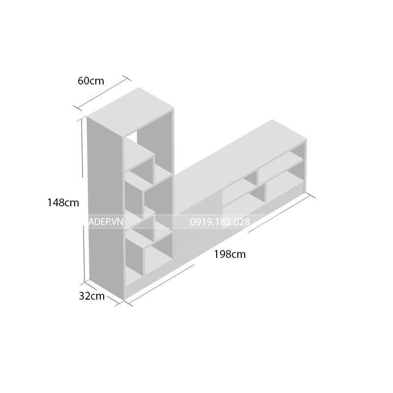 Kệ phù hợp với nhiều kích thước TV (lên đến 55 inch)