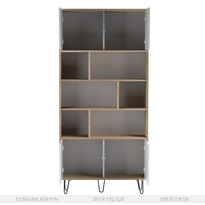 4 cánh tủ sách mở có nút nhấn tiện lợi.