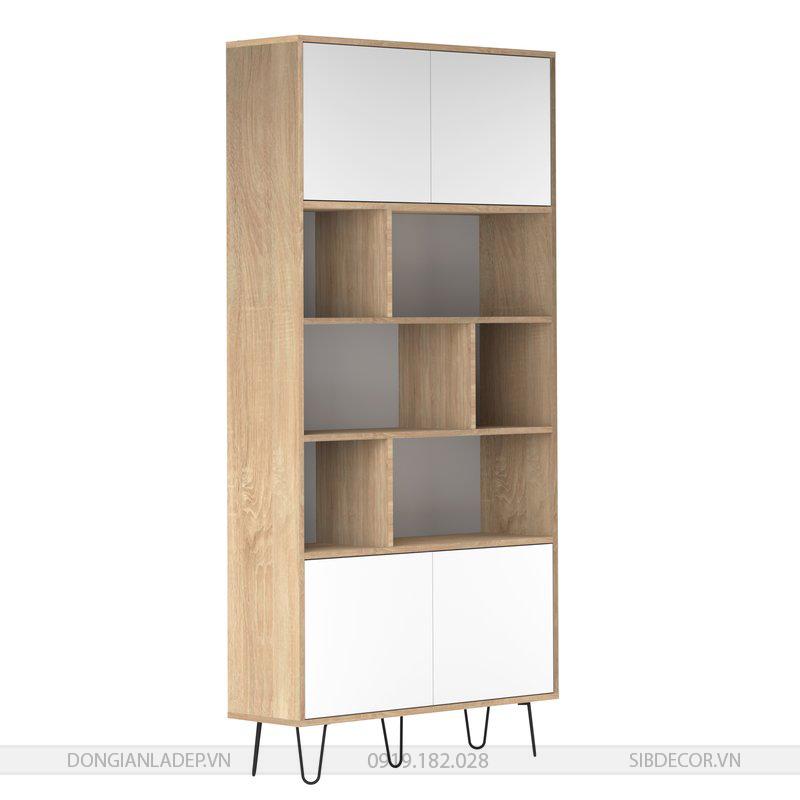Màu gỗ sồi kết hợp màu trắng, cốt gỗ MDF lõi xanh kháng ẩm.