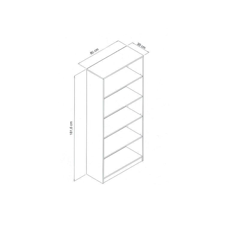 Kích thước chi tiết kệ sách KS292: 180x80x30cm