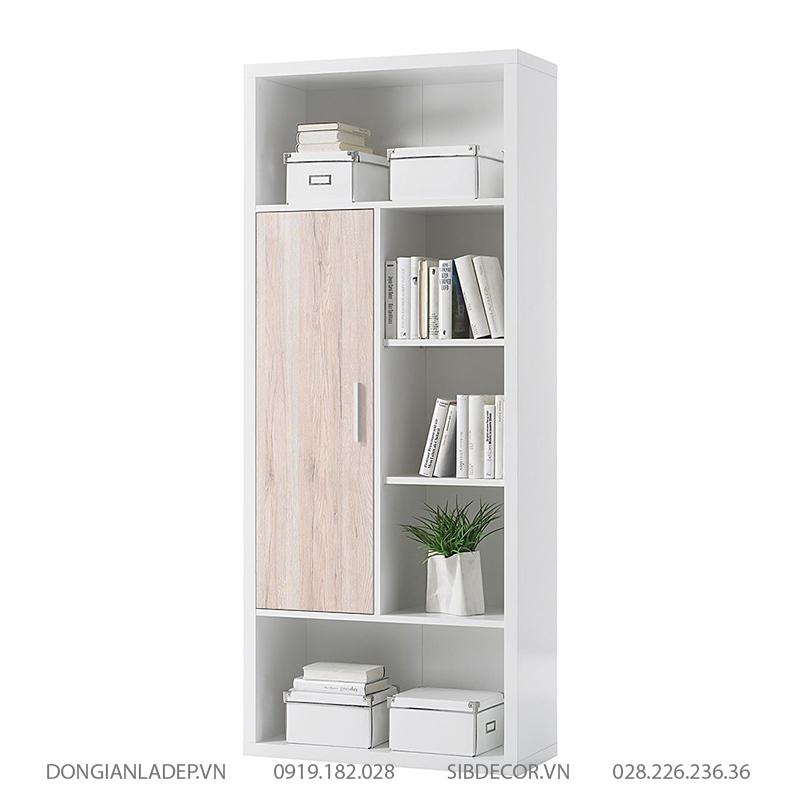 Tủ sách kết hợp màu trắng và vân gỗ sồi sang trọng.