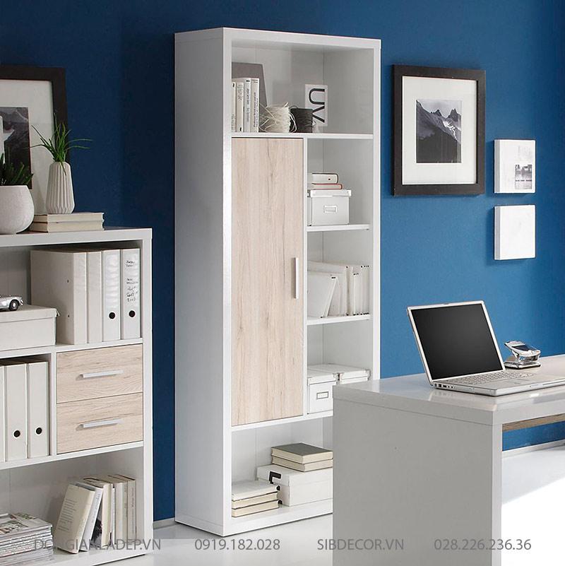 Khung bao gỗ đặc dày 25mm khiến chiếc tủ sách thêm cứng cáp, chắc chắn.
