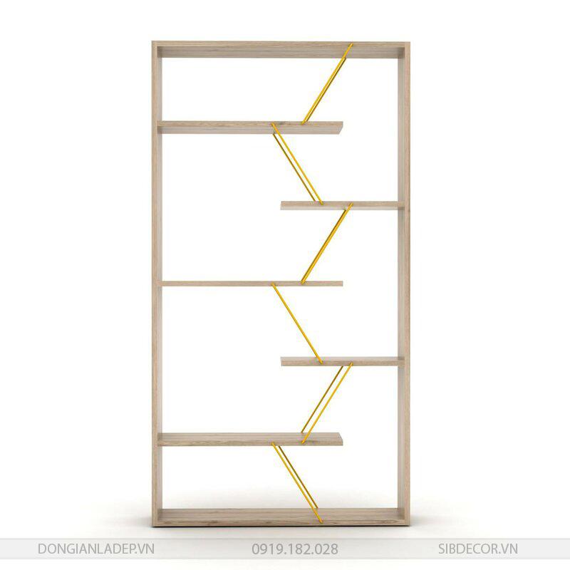 Các tầng kệ được liên kết khéo léo với nhau bằng những thanh sắt kim loại màu vàng.
