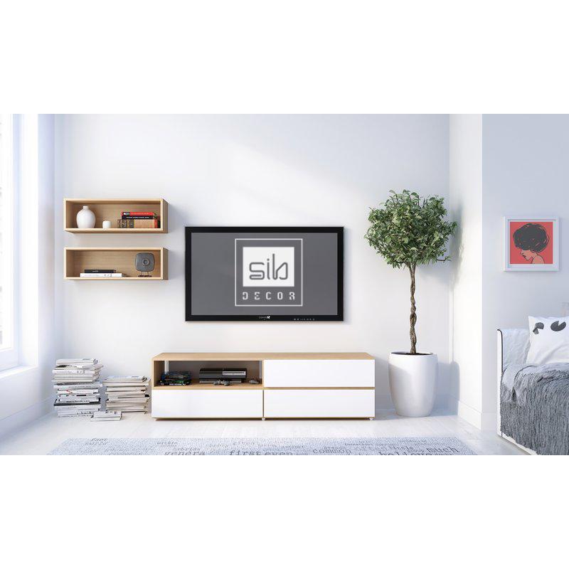 Kệ tivi kết hợp với kệ gỗ treo tường chữ nhật.
