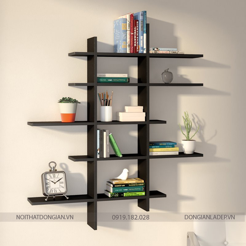 Thiết kế sáng tạo với 5 tầng có kích thước khác nhau (để sách đứng, để sách nằm)
