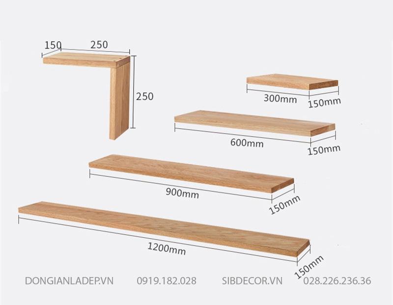 Kích thước chi tiết của bộ 5 kệ gỗ tự nhiên treo tường