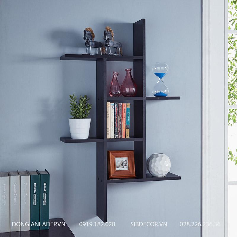 Kệ gỗ treo tường màu đen hiện đại. Kệ thiết kế để sách, đồ trang trí cho phòng khách, phòng ngủ hay phòng làm việc.