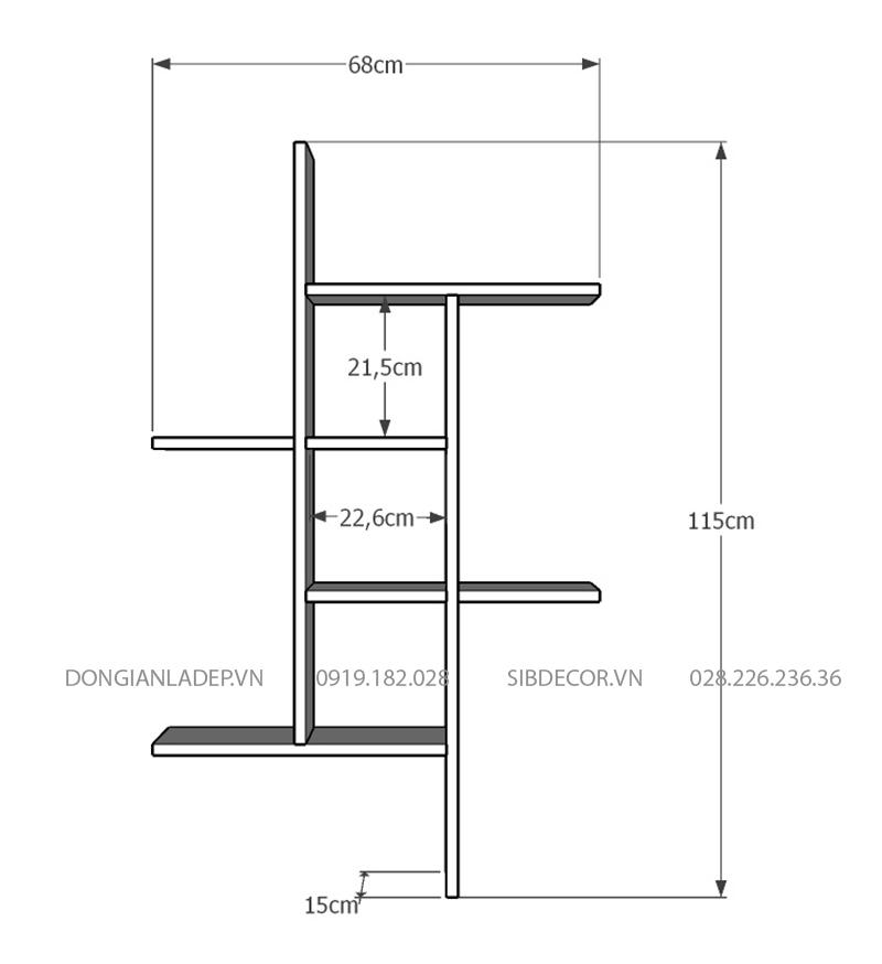 Kích thước chi tiết kệ gỗ treo tường KT232