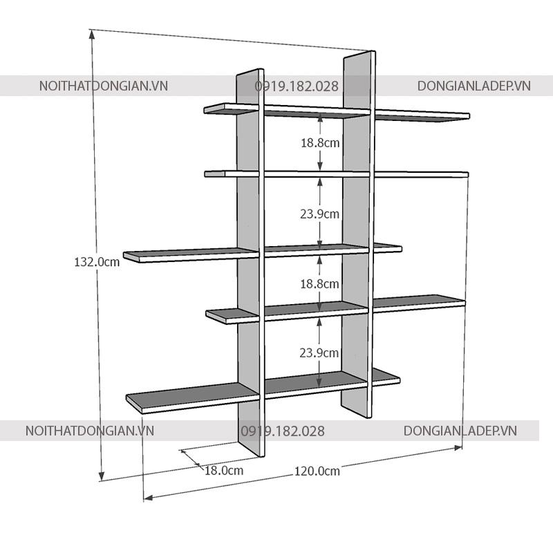 Kích thước chi tiết của kệ sách treo tường bất đối xứng KT334