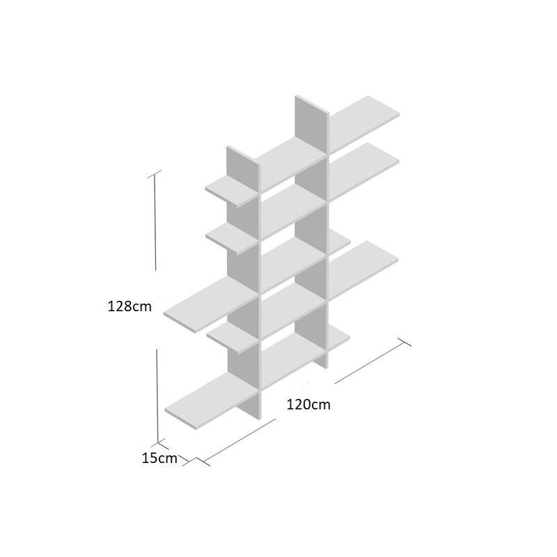 Kích thước kệ sách treo tường bất đối xứng