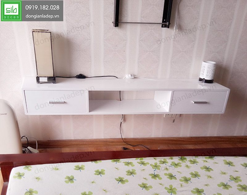 Hình thực tế mẫu kệ tivi treo tường full trắng TV127