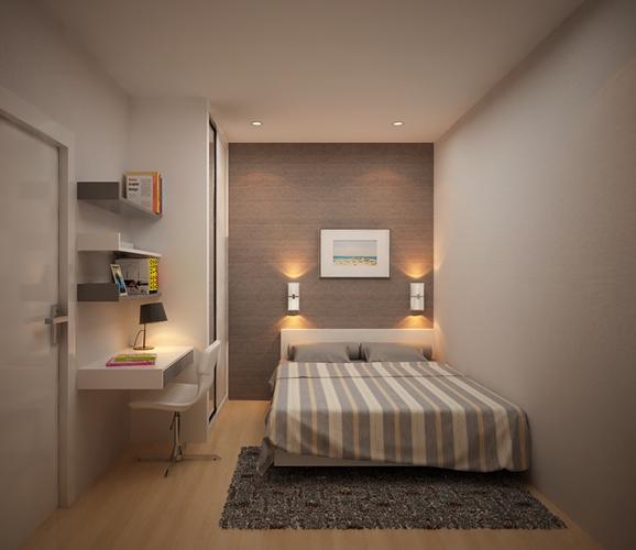 Ánh sáng đèn ngủ nhẹ dịu giúp căn phòng trông rộng hơn