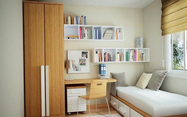 Sắp xếp đồ đạc ngăn nắp, sạch sẽ giúp tăng diện tích căn phòng